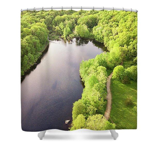 Lake Mohegan, Fairfield, Connecticut Shower Curtain