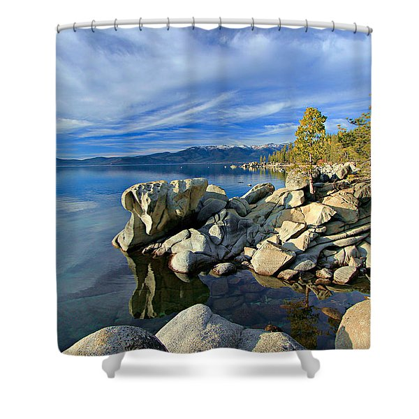 Shower Curtain featuring the photograph Lake Tahoe Rocks by Sean Sarsfield