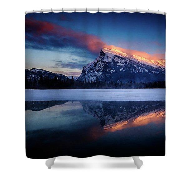 Last Light On Mount Rundle Shower Curtain