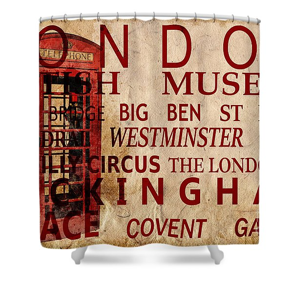 London Vintage Poster Red Shower Curtain