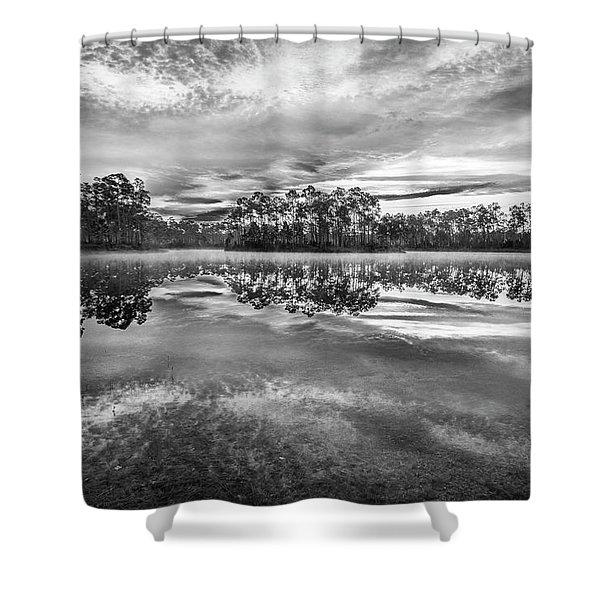 Long Pine Bw Shower Curtain