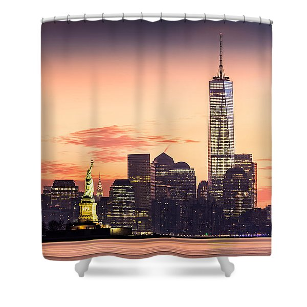 Lower Manhattan And The Statue Of Liberty At Sunrise Shower Curtain