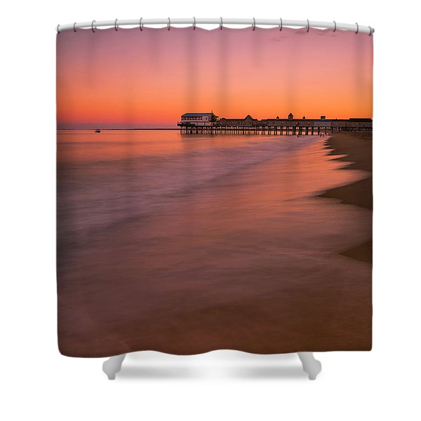 Shower Curtain featuring the photograph Maine Old Orchard Beach Pier Sunset by Ranjay Mitra