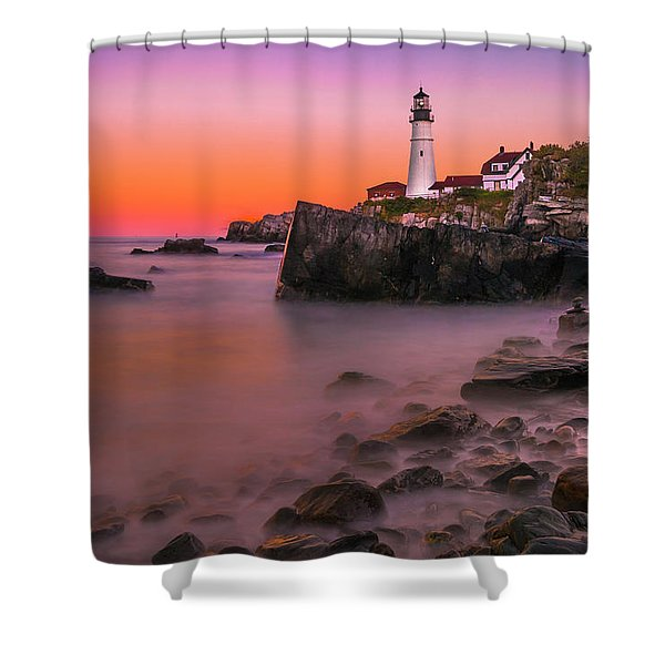 Shower Curtain featuring the photograph Maine Portland Headlight Lighthouse At Sunset by Ranjay Mitra