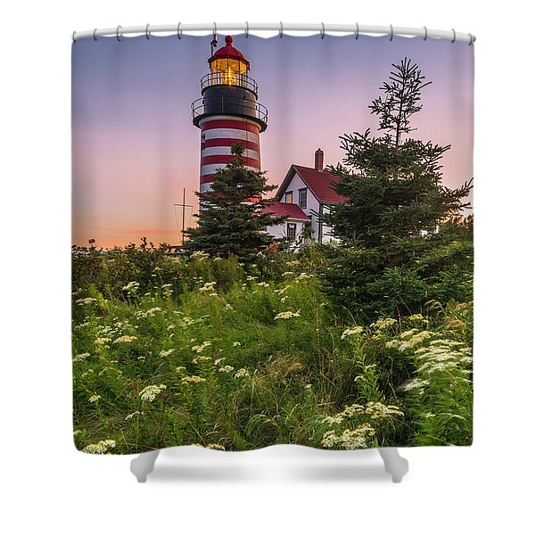 Maine West Quoddy Head Light At Sunset Shower Curtain