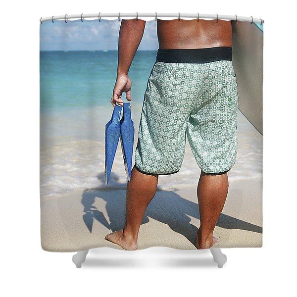 Male Bodyboarder Shower Curtain