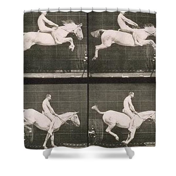 Man And Horse Jumping A Fence Shower Curtain