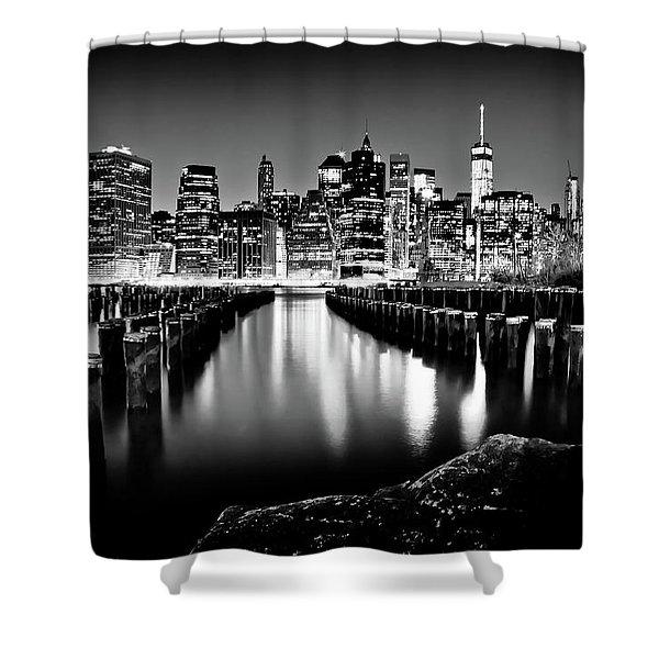 Manhattan Skyline At Night Shower Curtain