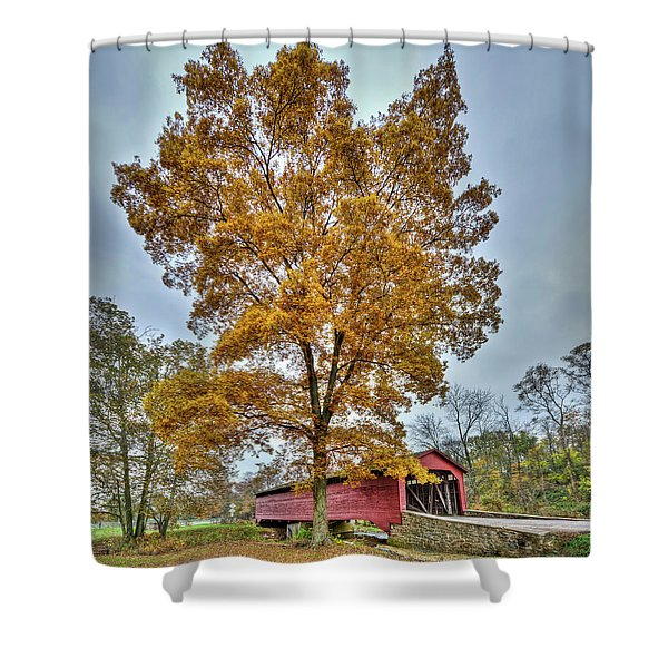 Maryland Covered Bridge In Autumn Shower Curtain