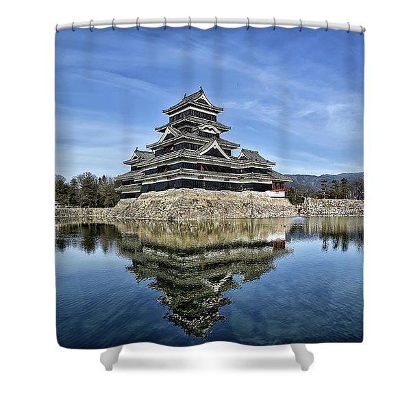 Matsumoto Castle Panorama Shower Curtain