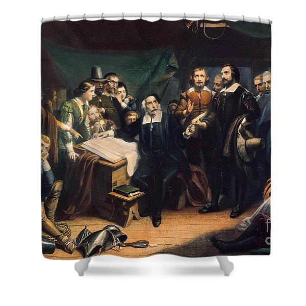 Mayflower: Compact, 1620 Shower Curtain