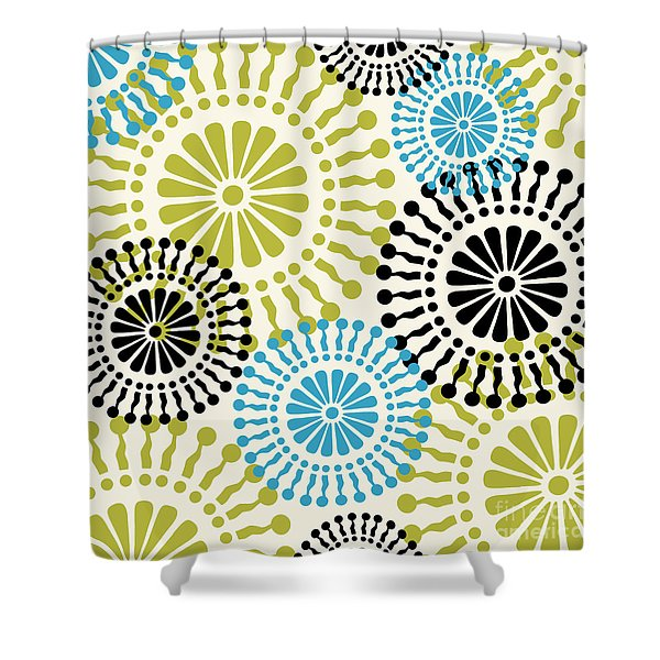 Metro Retro Circle Pattern 3 Shower Curtain