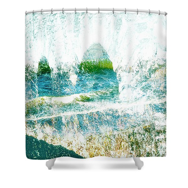 Shower Curtain featuring the mixed media Mirage by Gerlinde Keating - Galleria GK Keating Associates Inc