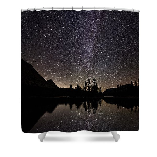 Mirror Lake Milky Way Shower Curtain