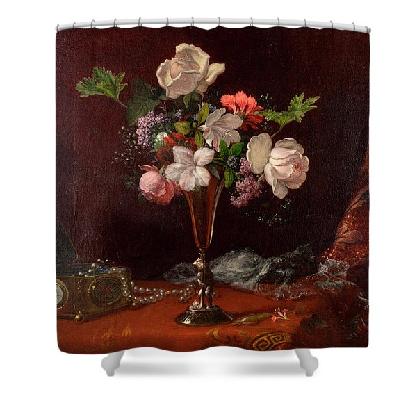 Mixed Flowers With A Box And Pearls Shower Curtain