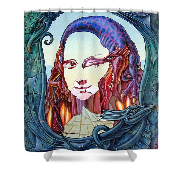 Mona Lisa. Fire Shower Curtain