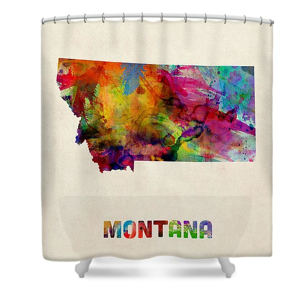 Montana Watercolor Map Shower Curtain
