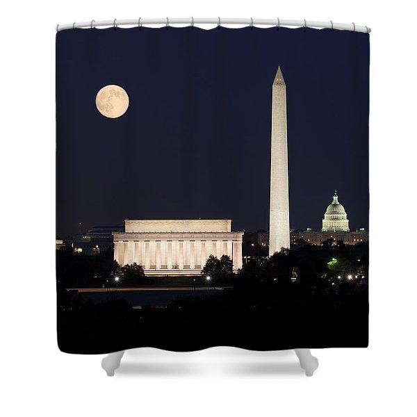 Moon Rising In Washington Dc Shower Curtain