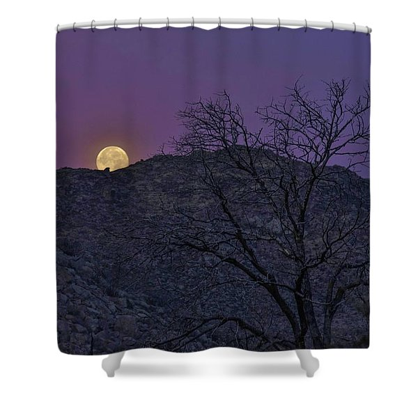 Moon Set At Sunrise Shower Curtain