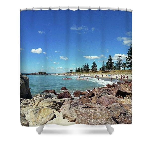 Mt Maunganui Beach 3 - Tauranga New Zealand Shower Curtain