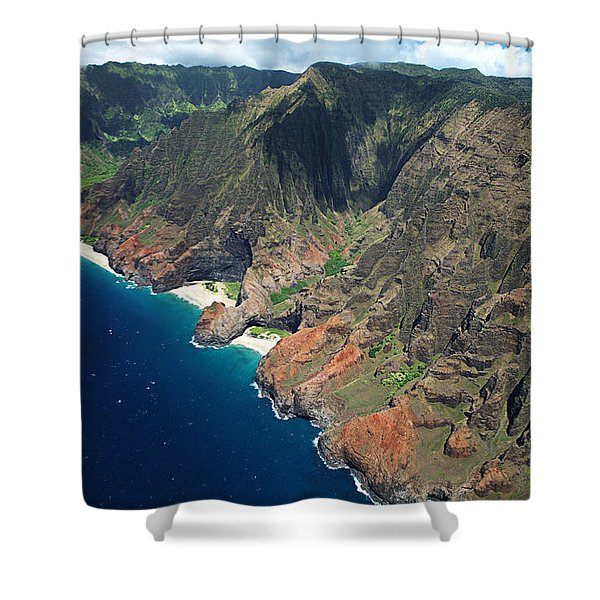 Na Pali Coast Aerial Shower Curtain