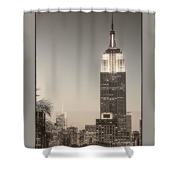 Shower Curtain featuring the photograph New York Empire State Building by Juergen Held
