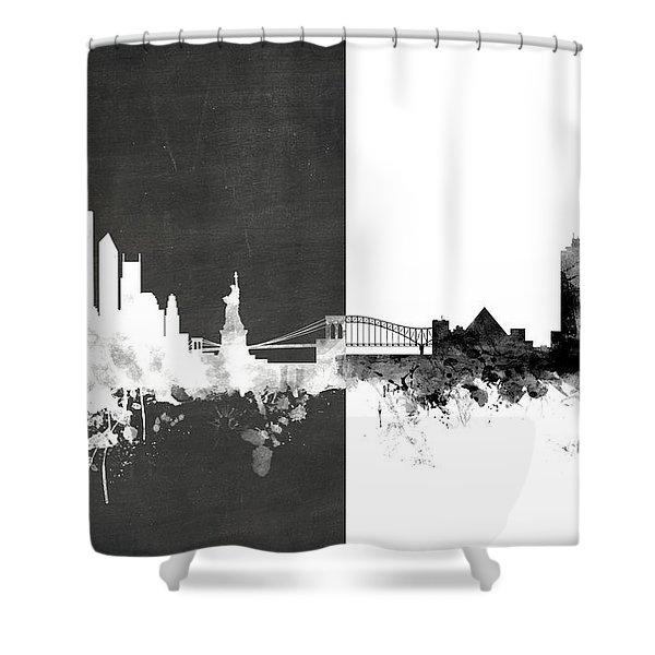 New York Memphis Skyline Mashup Shower Curtain
