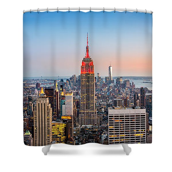 New York Skyline Panorama Shower Curtain