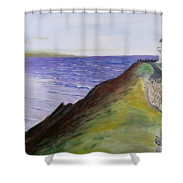 Shower Curtain featuring the painting New Zealand Lighthouse by Kevin Daly