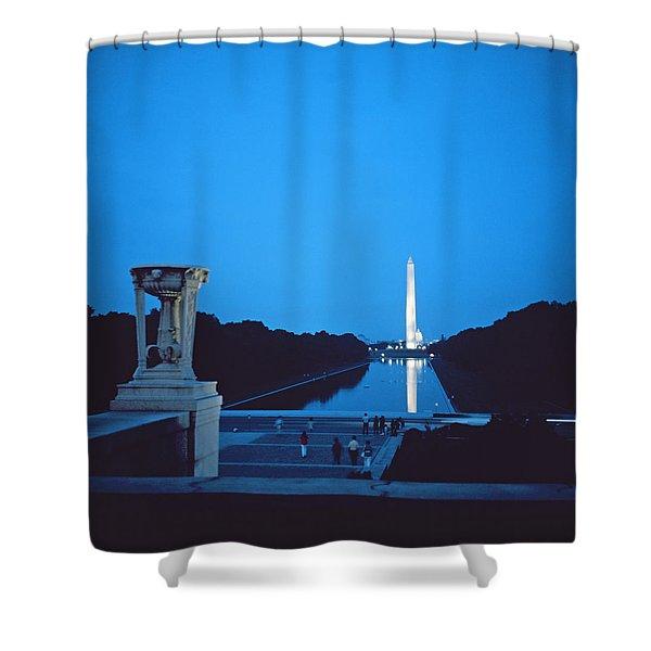 Night View Of The Washington Monument Across The National Mall Shower Curtain