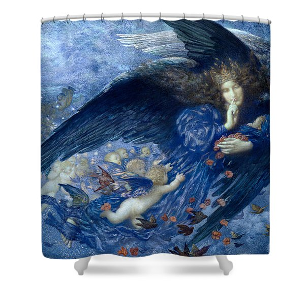 Night With Her Train Of Stars Shower Curtain