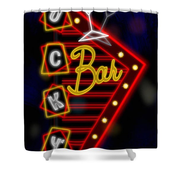 Nightclub Sign Luckys Bar Shower Curtain