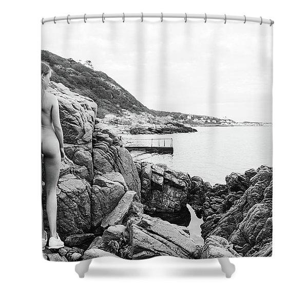 Nude Girl On Rocks Shower Curtain