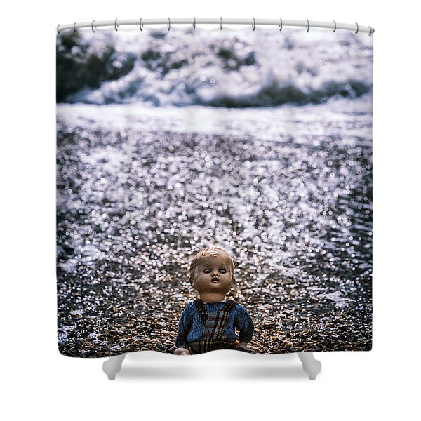 Old Doll On The Beach Shower Curtain