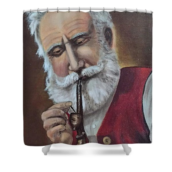 Old German With Pipe Shower Curtain