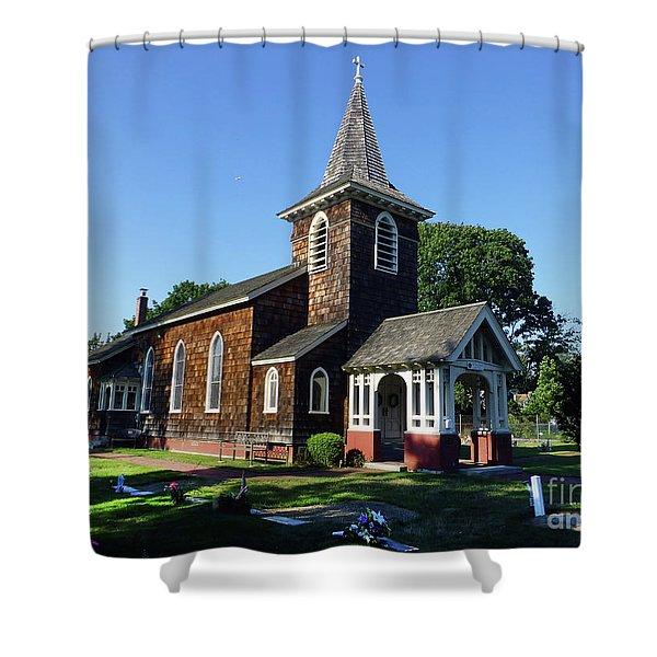 Old Grace Church Massapequa  Shower Curtain