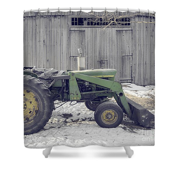 Old Tractor By The Grey Barn Shower Curtain