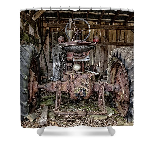 Old Tractor In The Barn Shower Curtain