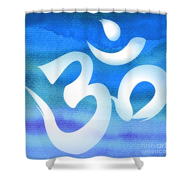 Om Symbol. Blue And White Shower Curtain