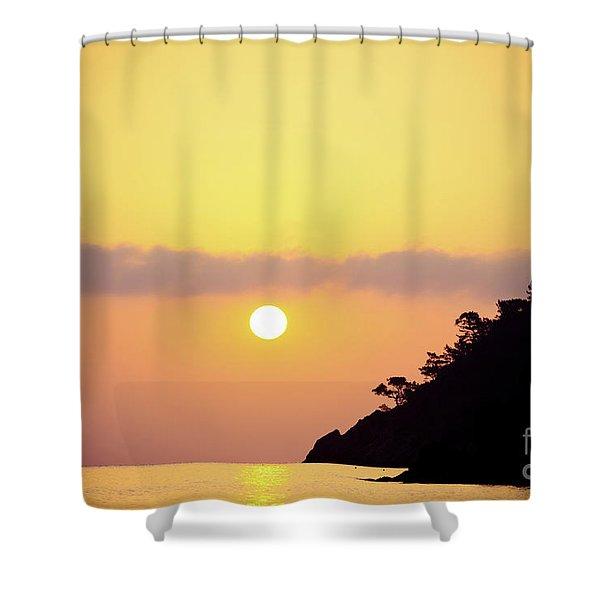 Shower Curtain featuring the photograph Orange Sunrise Above Sea by Raimond Klavins