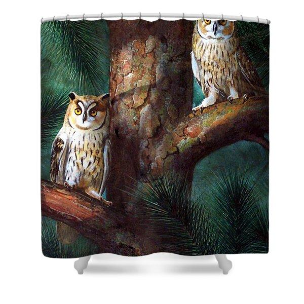 Owls In Moonlight Shower Curtain