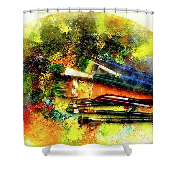 Paint Brushes To The Painting Palette And Softly Blurred Watercolor Background. Shower Curtain