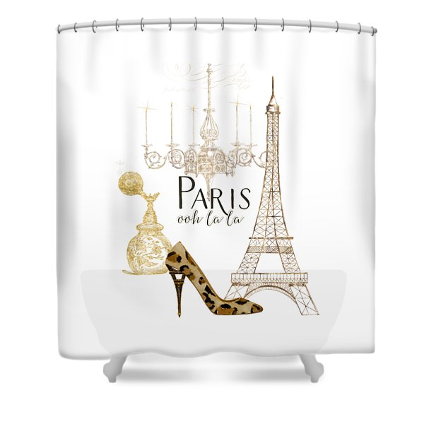Paris - Ooh La La Fashion Eiffel Tower Chandelier Perfume Bottle Shower Curtain