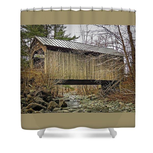 Pine Brook Bridge Shower Curtain