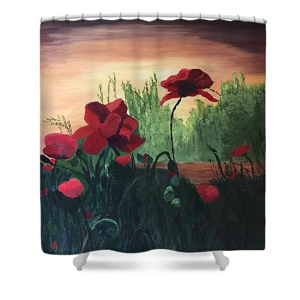 Shower Curtain featuring the painting Poppies by Jane Croteau