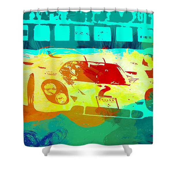 Porsche 917 Watercolor Shower Curtain