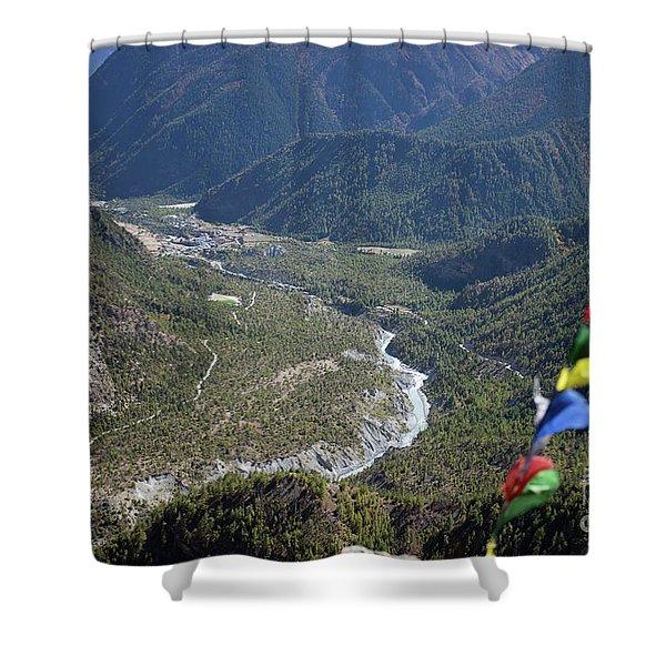 Prayer Flags In The Himalaya Mountains, Annapurna Region, Nepal Shower Curtain