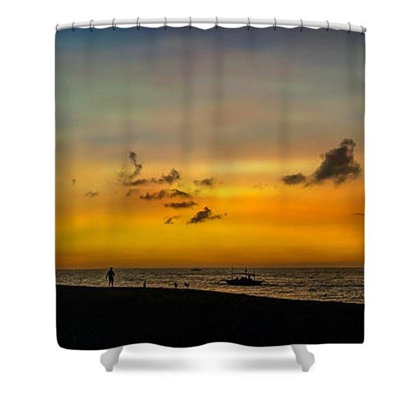 Puka Beach Sunset  Shower Curtain