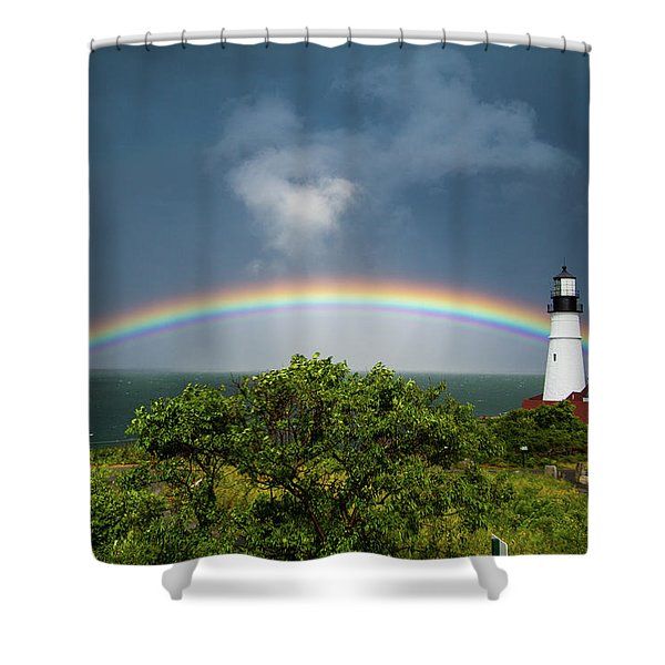 Rainbow At Portland Headlight Shower Curtain