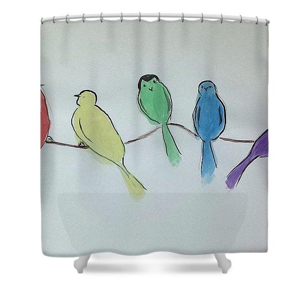 Rainbow Birds Shower Curtain